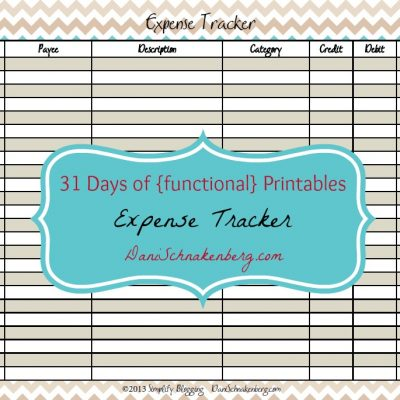 31 Days of {functional} Printables – Expense Tracker