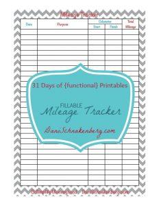 31 Days of {functional} Printables - Mileage Tracker | DaniSchnakenberg.com