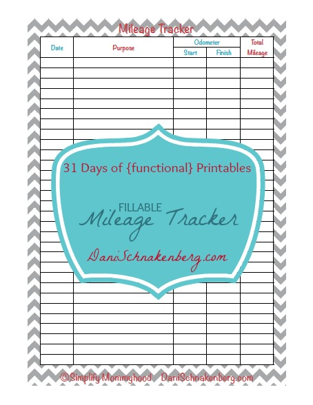 31 Days of {functional} Printables - Mileage Tracker   DaniSchnakenberg.com