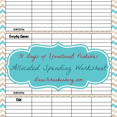 31 Days of {functional} Printables – Allocated Spending