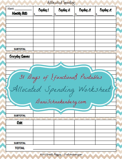 31 Days of {functional} Printables - Allocated Spending Worksheet