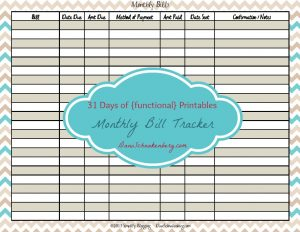 31 Days of {functional} Printables - Monthly Bill Tracker