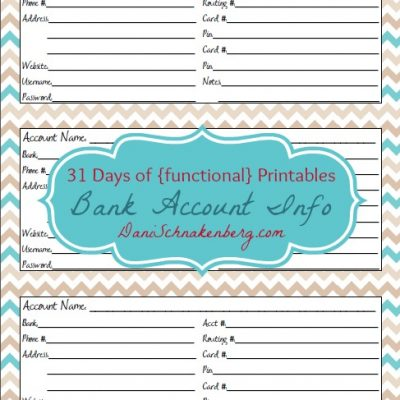 31 Days of {functional} Printables – Bank Account Info Sheet