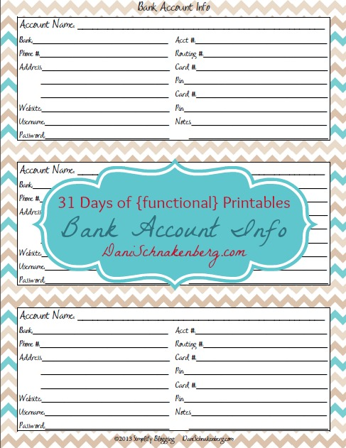 31 Days of {functional} Printables - Bank Account Info