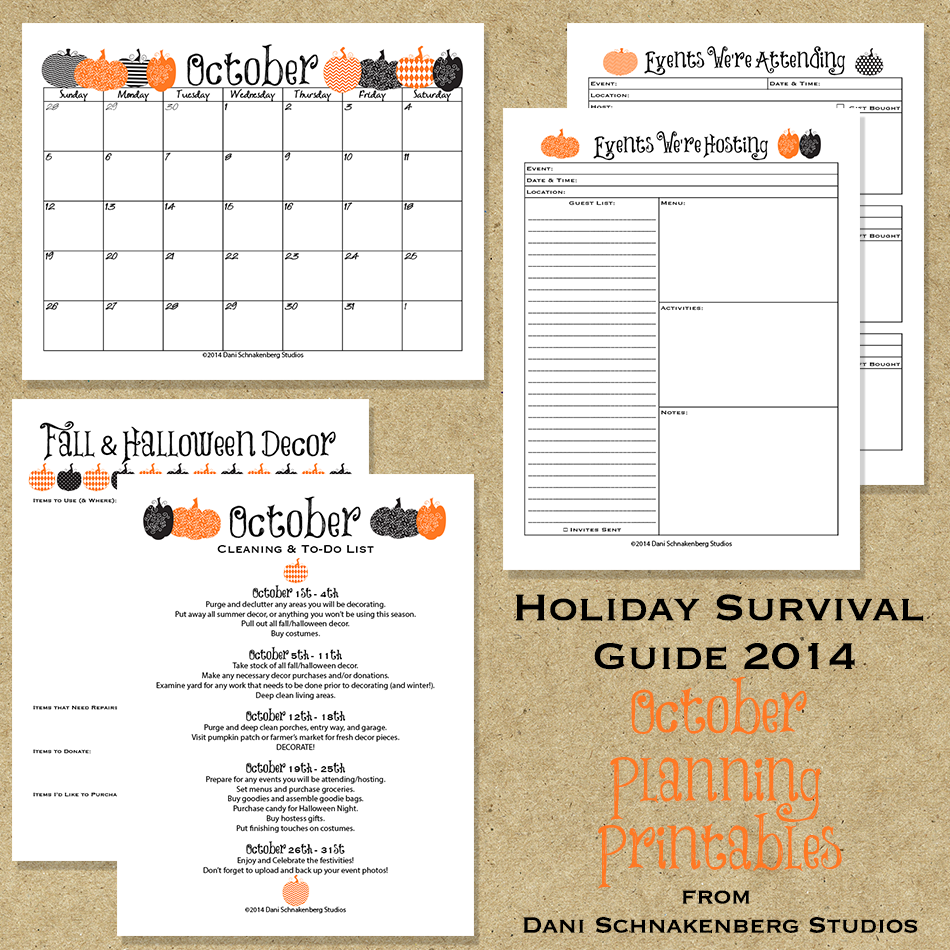 Holiday Survival Guide 2014 - October Planning Printables