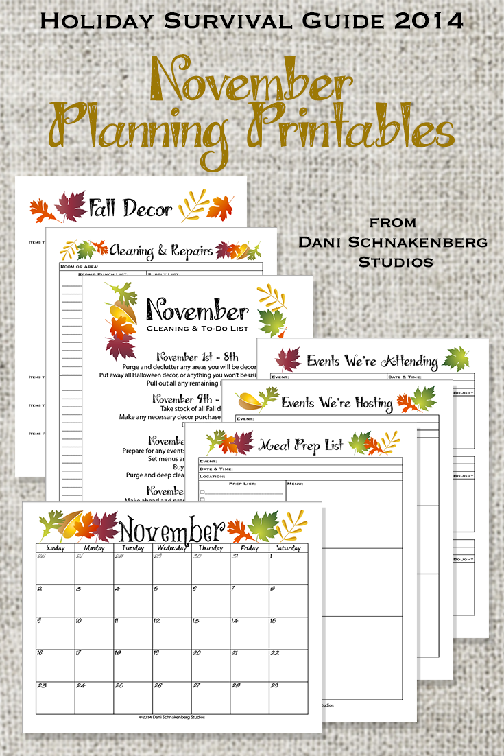November Planning Printables