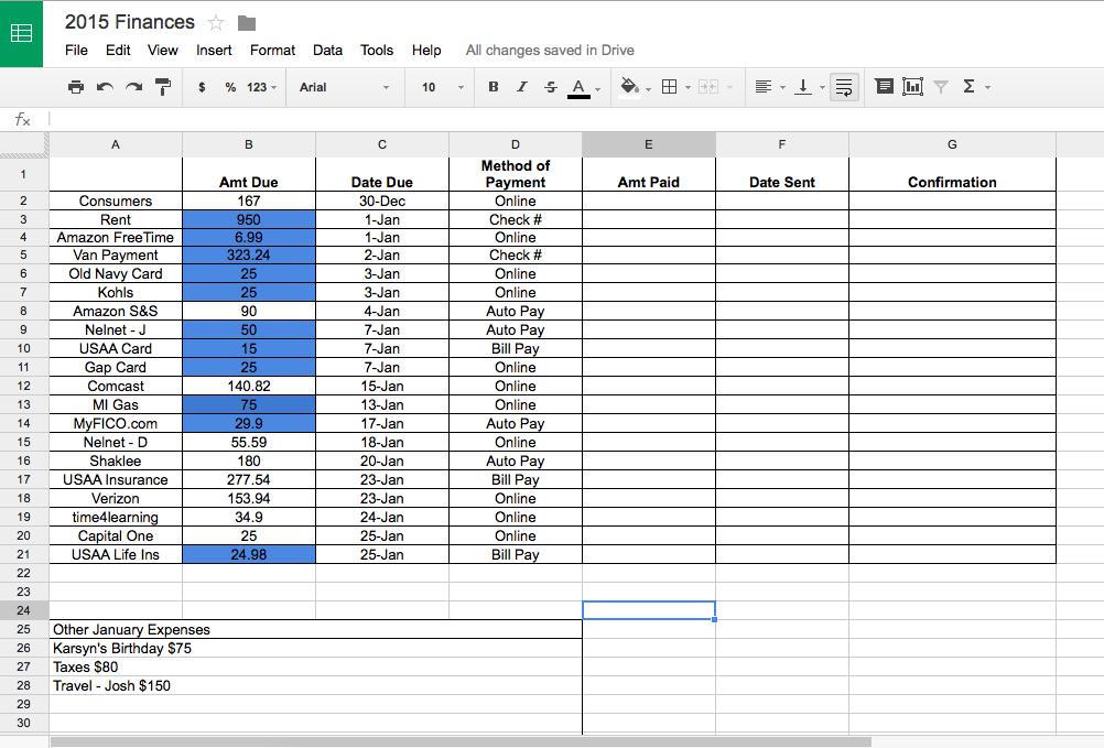 January Bills Spreadsheet