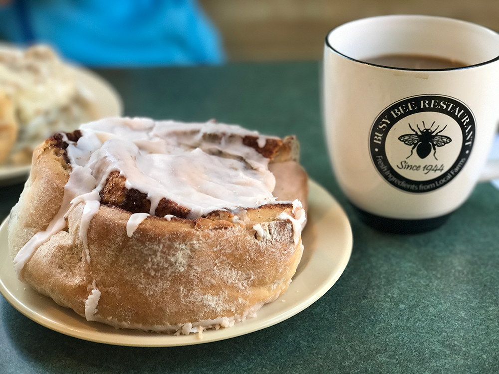 Gigantic Cinnamon Roll at the Busy Bee Restaurant | Marietta, Ohio