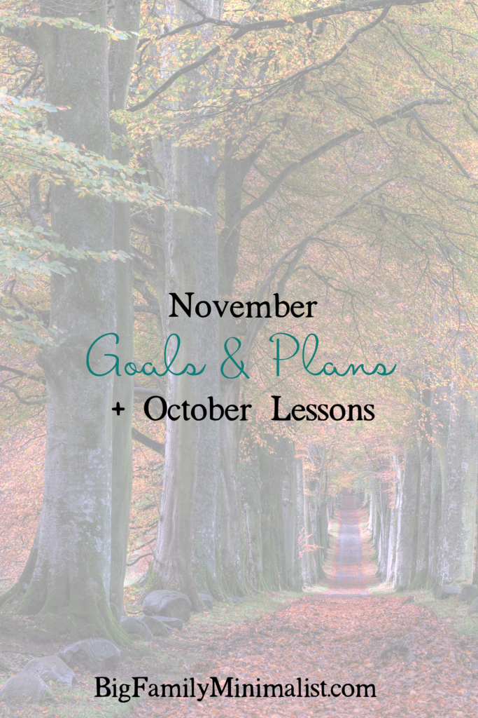 November Goals & Plans + October Lessons